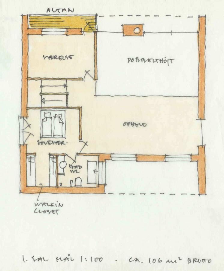 Arkitekt Villa Blommenslyst 1 sal plantegning
