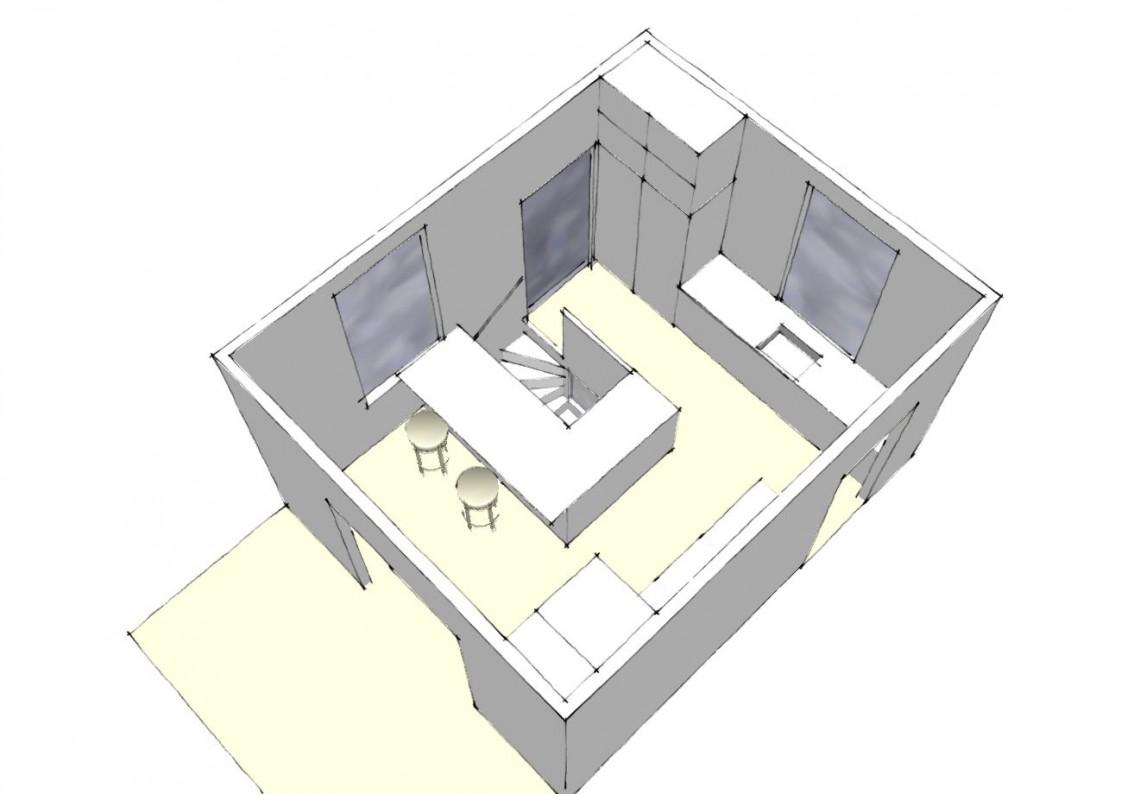 Arkinaut arkitekter: 3D af nyt køkken
