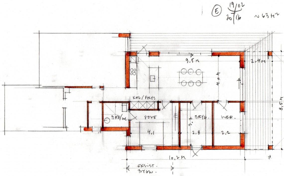 Tilbygning plantegning Arkinaut Arkitekter ApS