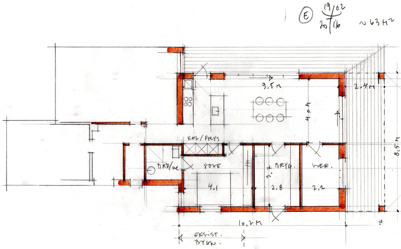 Tilbygning eksempel på planløsning fra Arkinaut Arkitekter