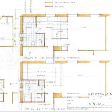 Nyt badeværelse i lejlighed plantegning - Skitseforslag af Arkinaut ApS