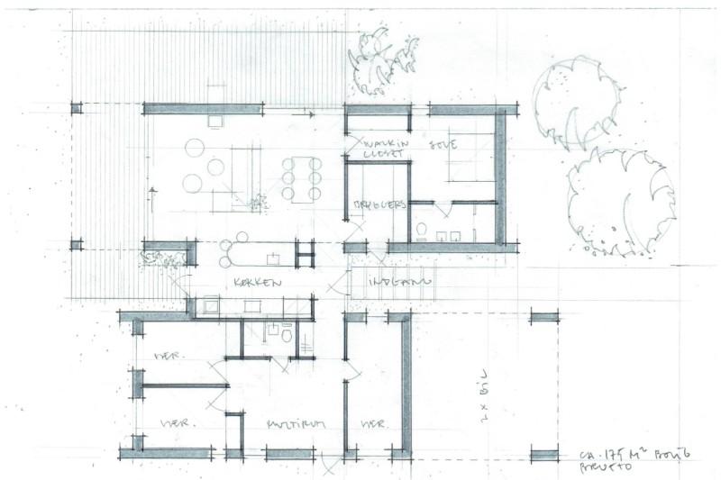 Arkitekttegnet hus plantegning - Skitseforslag Arkinaut Arkitekt- og byggerådgivning ApS 2016