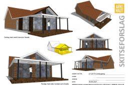 Skitser til tilbygning med pergola over terrasse - Arkinaut Arkitekt- og byggerådgivning Aps