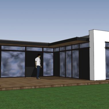 Arkitekttegnet 3D skitse af ny villa - Arkinaut Aps