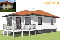 Nye vinduer, facaderenovering, stilskifte i bungalow - Arkinaut Arkitekter Aps