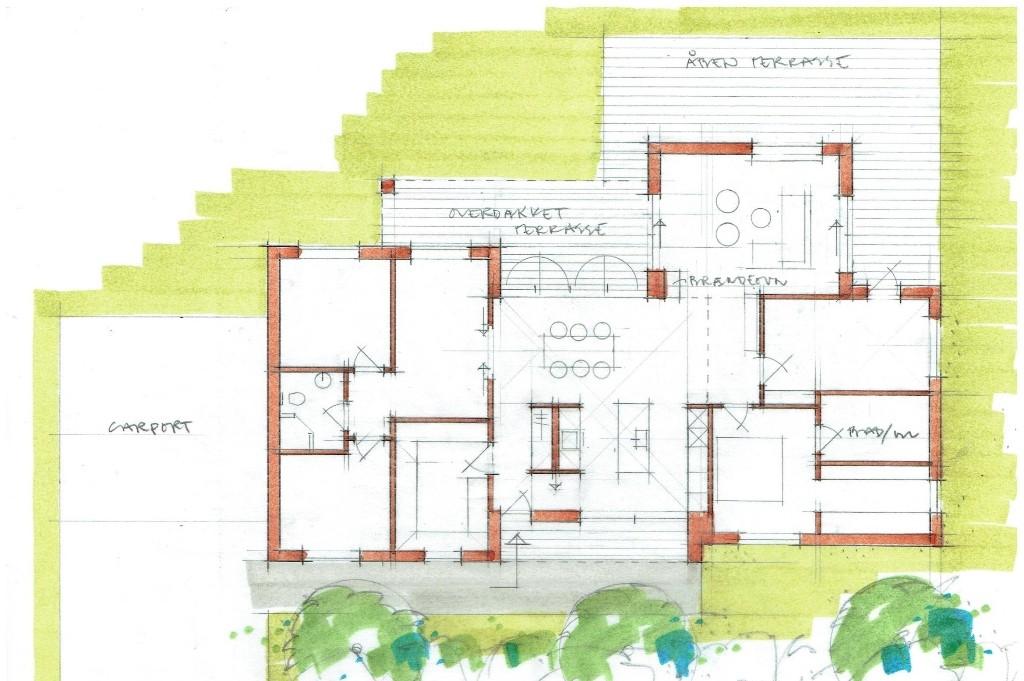 Arkitekttegnet hus, funkisstil - Arkinaut Arkitekt- og byggerådgivning aps 1