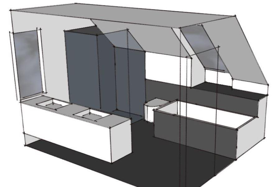 Nyt badeværelse på 1. sal af villa - Arkinaut Arkitekt- og byggerådgivning Aps 01
