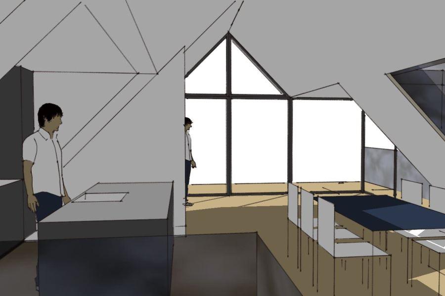 Køkken/alrum på 1. sal - Ombygning - Arkinaut Arkitekt- og byggerådgivning Aps 02