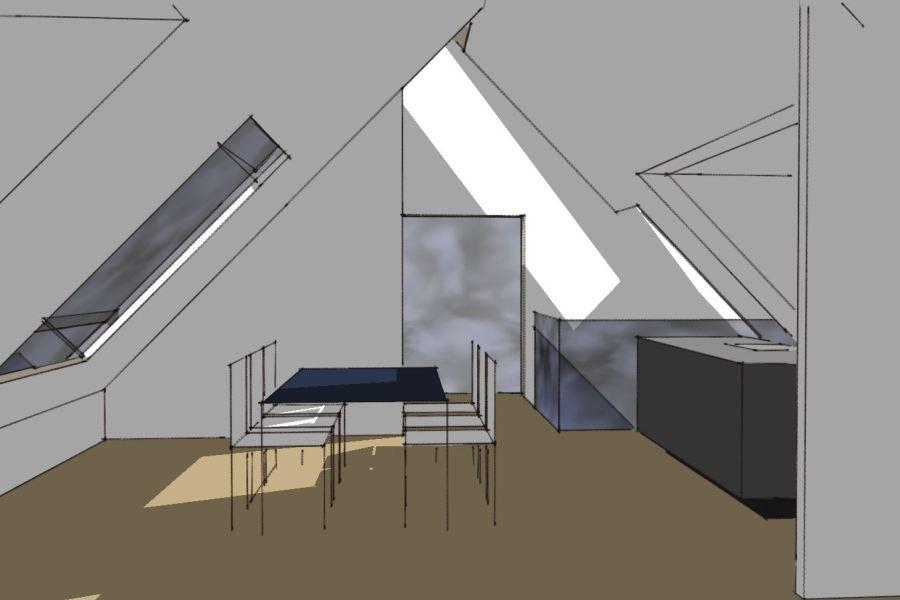 Køkken/alrum på 1. sal - Ombygning - Arkinaut Arkitekt- og byggerådgivning Aps 05