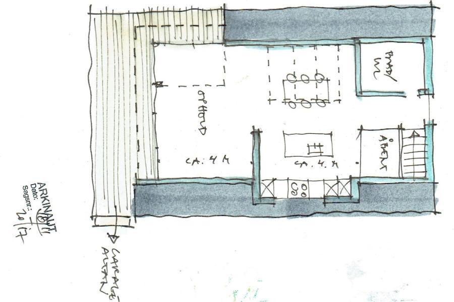 Køkken/alrum på 1. sal - Ombygning - Arkinaut Arkitekt- og byggerådgivning Aps 06