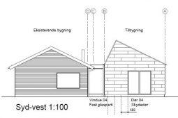 Tilbygning med asymmetrisk tag - Arkinaut arkitekt- og byggerådgivning Aps