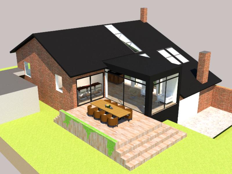 Tilbygning og køkken/alrum - Arkinaut Arkitekt- og byggerådgivning ApS 2