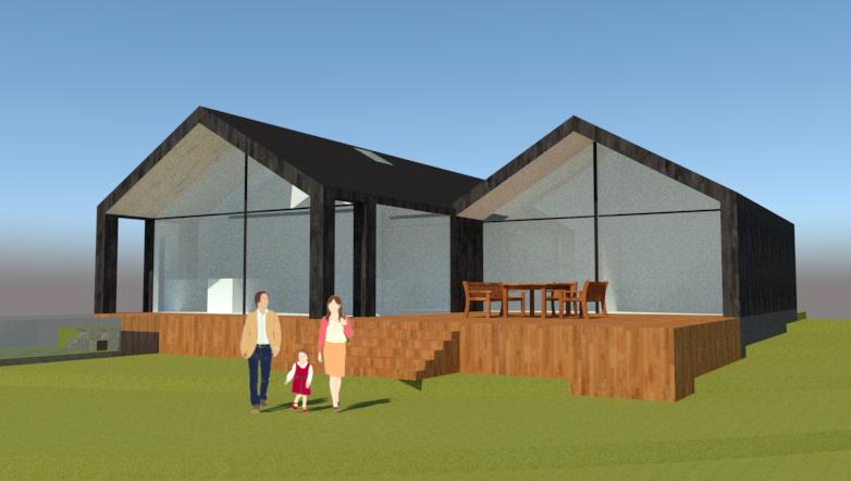 Arkitekttegnet hus på skråning - Arkinaut Arkitekt- og byggerådgivning ApS 2