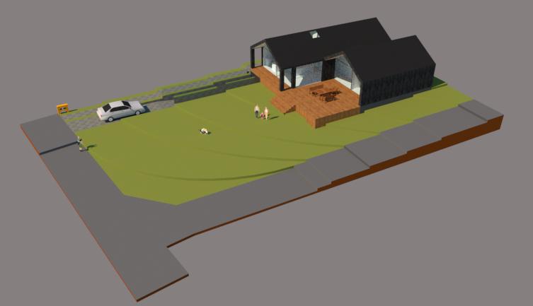 Arkitekttegnet hus på skråning - Arkinaut Arkitekt- og byggerådgivning ApS 6
