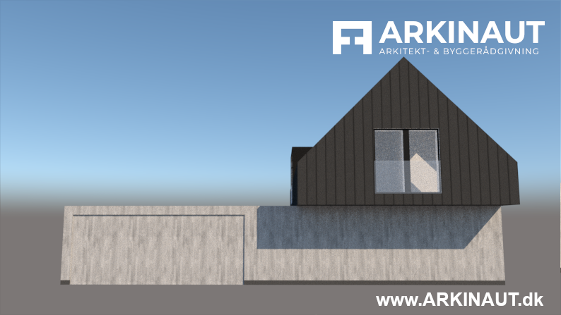 Arkitekttegnet hus i halvandet plan - Arkinaut Arkitekt- og byggerådgivning ApS 2