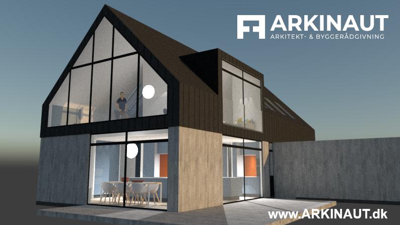 Arkitekttegnet hus i halvandet plan - Arkinaut Arkitekt- og byggerådgivning ApS 3