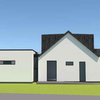 Hvid tilbygning til hvidt hus - Arkinaut Arkitekt- & byggerådgivning ApS