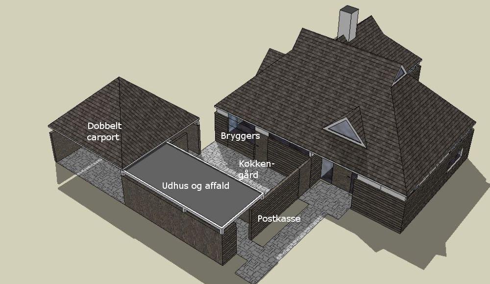 Carport, udhus og køkkengård samtænkt - Arkinaut Arkitekt- og byggerådgivning aps