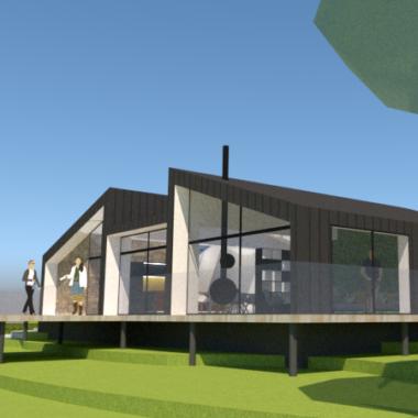 Arkitekttegnet hus med udsigt